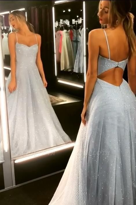 Sparkly A-line Spaghetti Staps Backless Tulle Floor Length Prom Dress