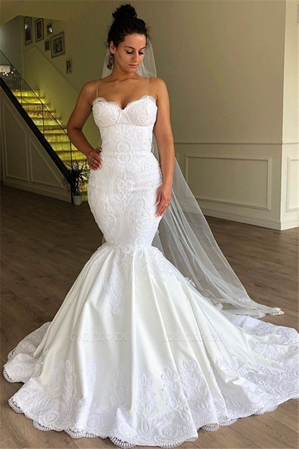 Chicloh Gorgeous Mermaid Spaghetti Straps Sleeveless Lace Wedding Dresses