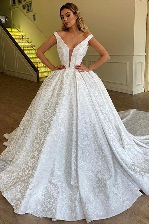 Chicloh Elegant Ball Gown Off The Shoulder Appliques Wedding Dresses