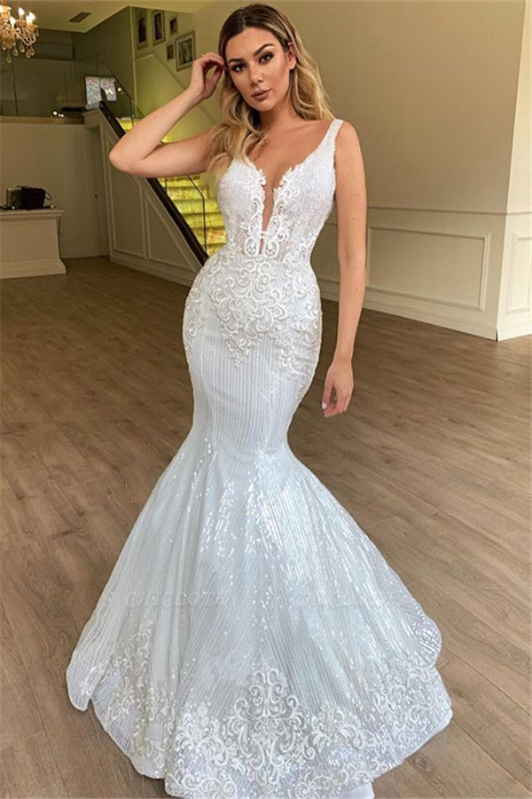 Chicloh Glamorous Sheer Straps Mermaid Sleeveless Appliques Tulle Wedding Dresses