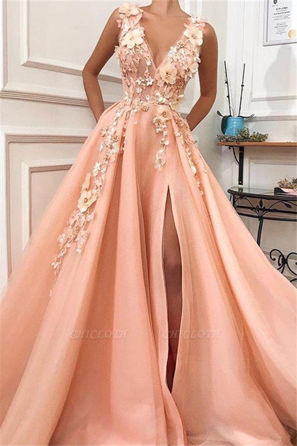 A-Line Straps V-Neck Flower Appliques Side Split Prom Dress