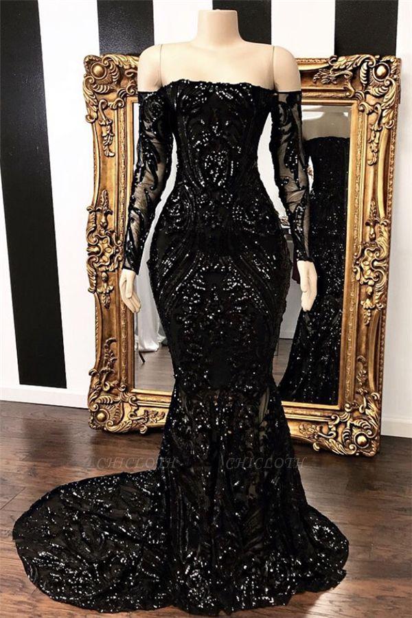 Off-the-shoulder Mermaid Long Sleeves Black Sweep Train Prom Dresses