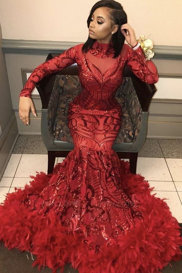 High Neck Red Mermaid Sequins Long Sleeves Prom Dress