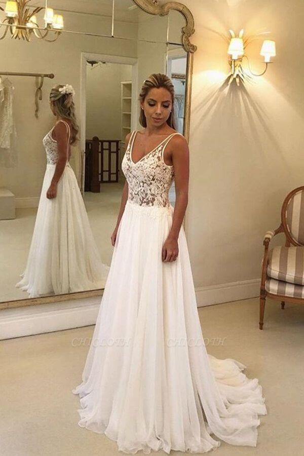 A-line Open Back V-neck Lace Chiffon Wedding Dress