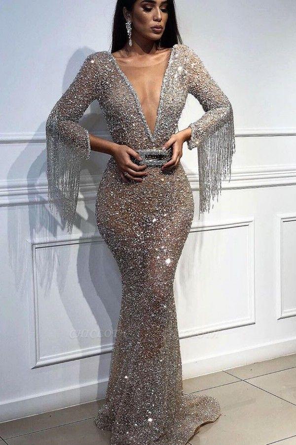 Mermaid Tulle Sequins Deep V-Neck 3/4 Sleeves Floor-Length Prom Dress with Tassels