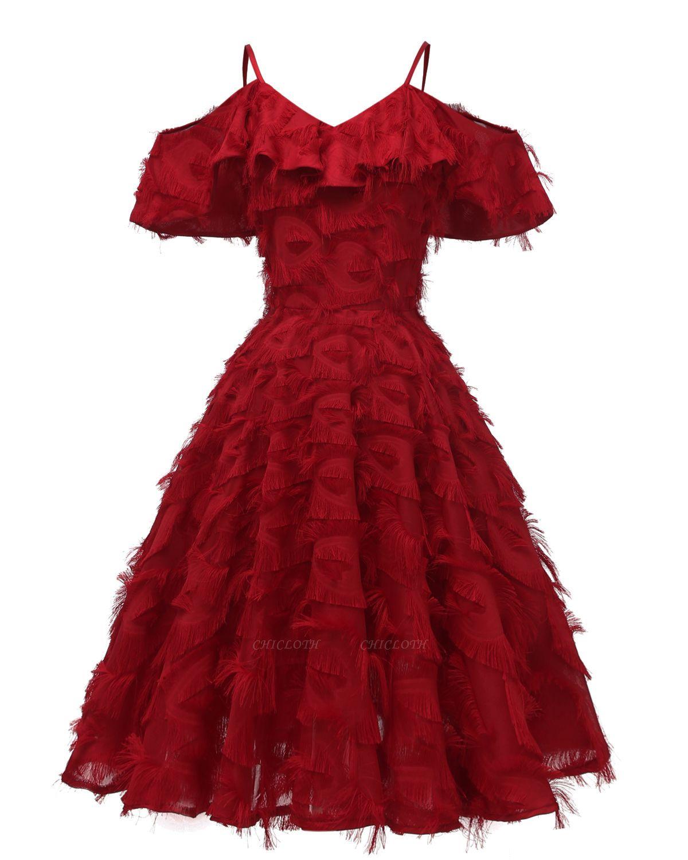 Burgundy V Neck Women Feathers Spaghetti Straps Dress