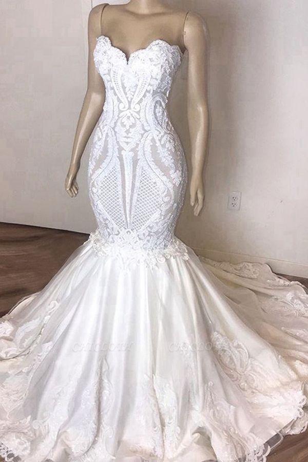 Chicloh Amazing Strapless Appliques Mermaid Wedding Dress