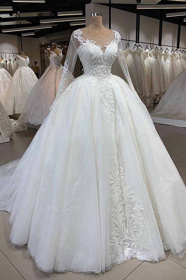 Chicloh Elegant Long Sleeve Ball Gown Tulle Wedding Dress