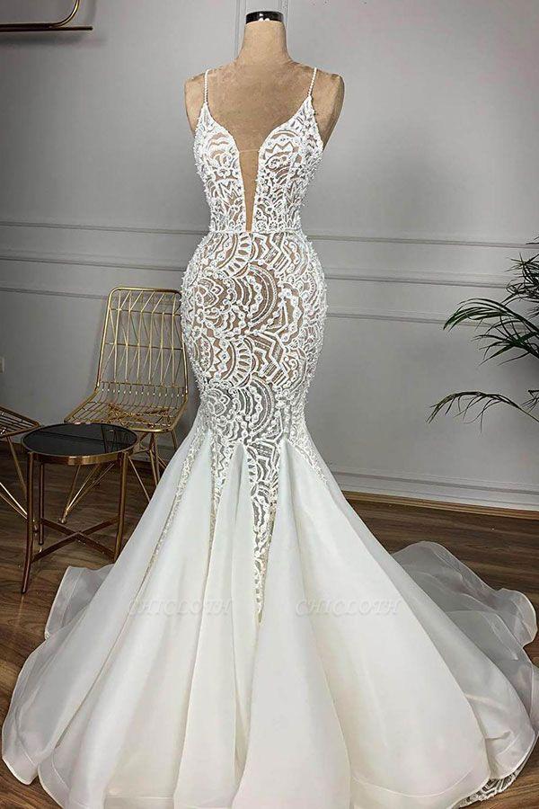 Chicloh Gorgeous Beaded Lace Organza Mermaid Wedding Dress