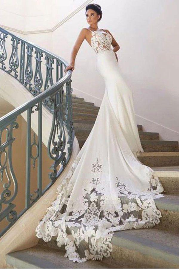 Chicloth Precious Spaghetti Strap Lace Mermaid Wedding Dress