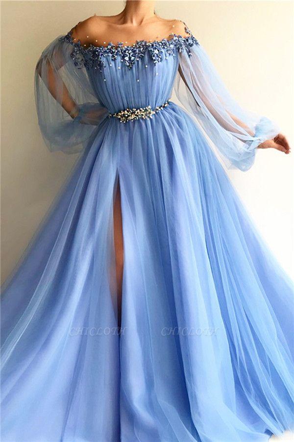 A-Line Off-The-Shoulder Appliques Tulle Beads Belt Prom Dress