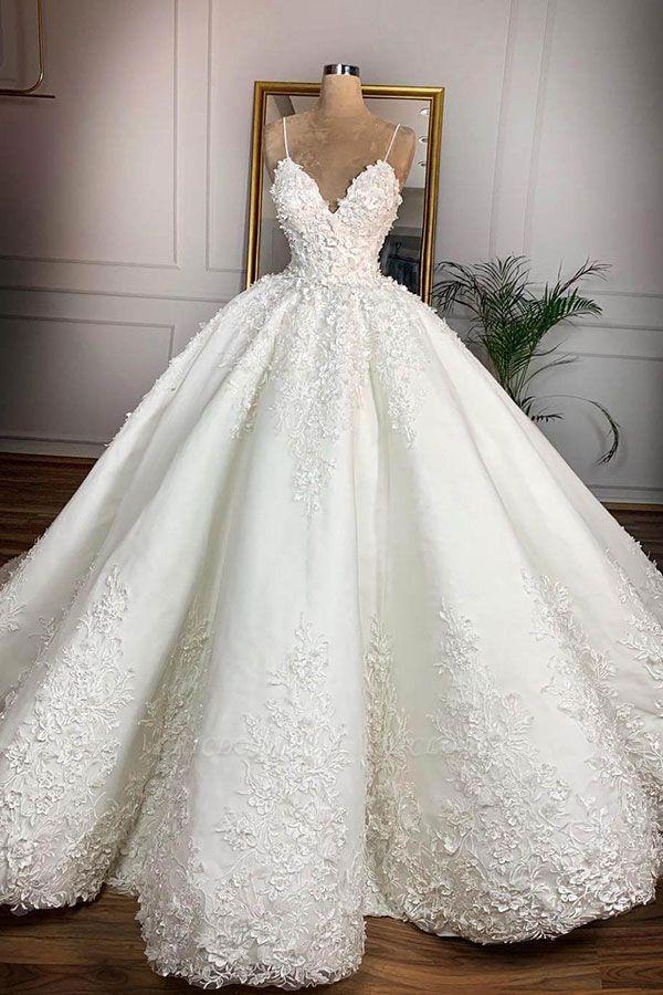 Chicloh Spaghetti Strap Appliques Satin Wedding Dress
