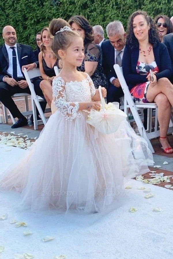 Princess Jewel Long Sleeves Lace Tulle Flower Girl Dresses with Bowknot