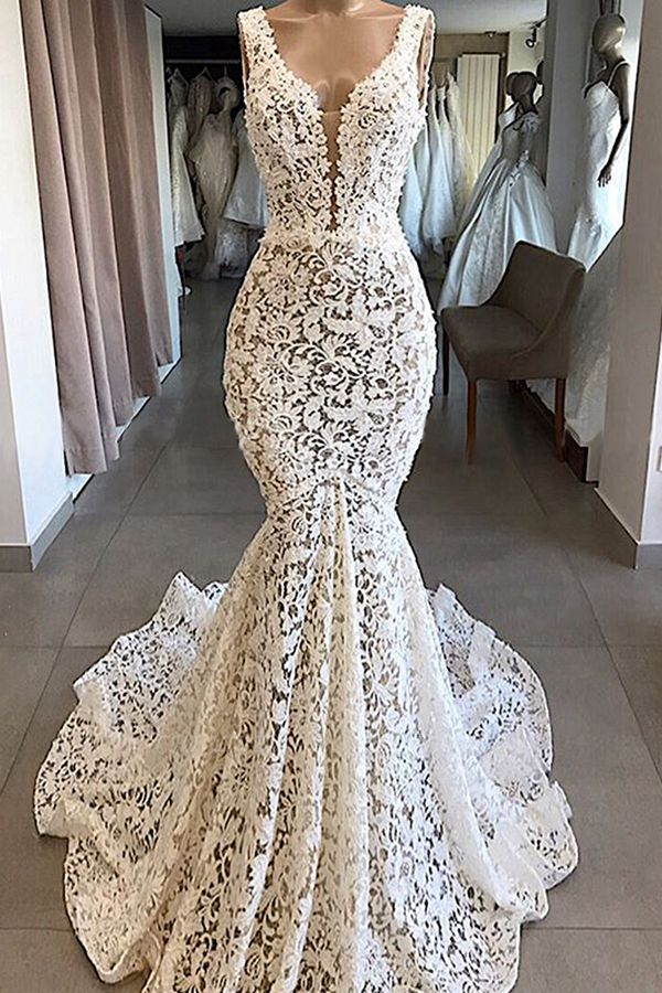 Chicloh Vintage V-neck Mermaid Lace Wedding Dresses