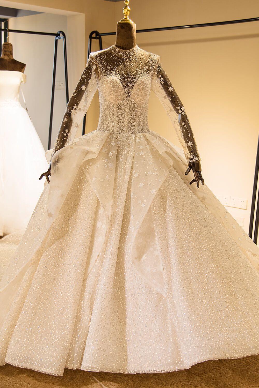 Chicloh Long Sleeve Beading Lace-up Tulle Wedding Dress