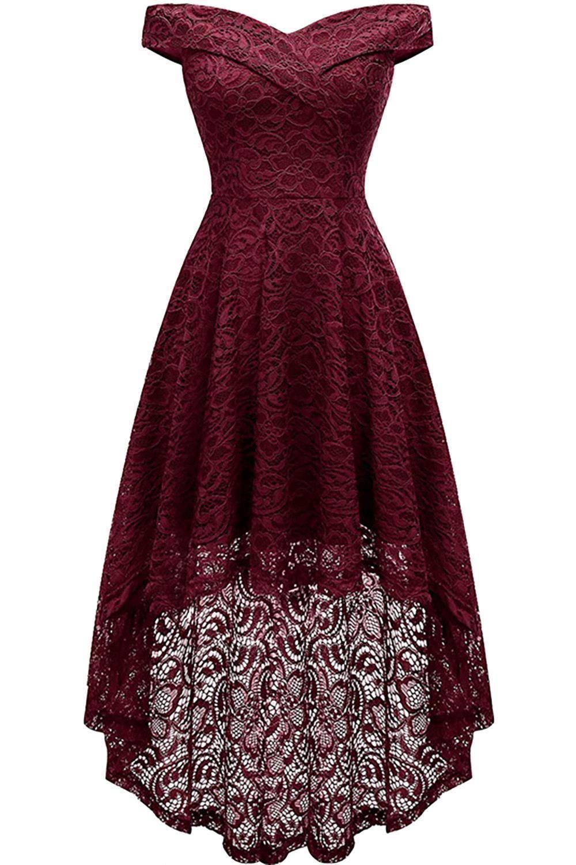 Vintage Floral Lace Off Shoulder Hi-Lo Formal Swing Dress