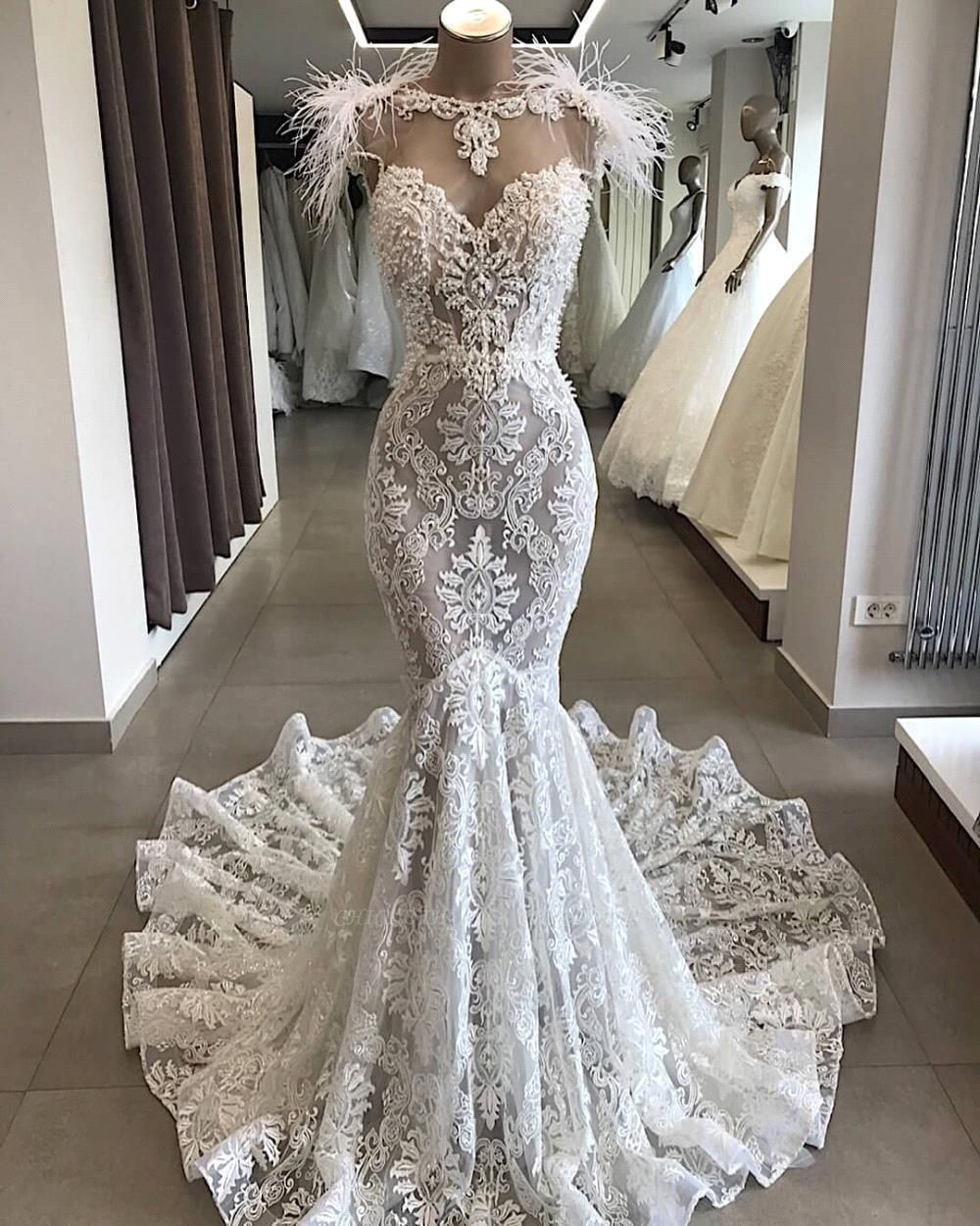 Chicloth Glorious Beading Appliques Mermaid Wedding Dress