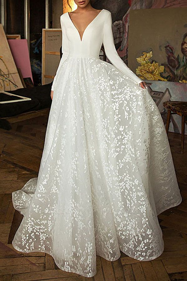 Chicloth Elegant Long Sleeve V-neck Satin Wedding Dress