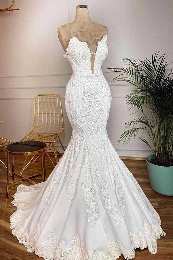 Chicloh Strapless Appliques Satin Mermaid Wedding Dress
