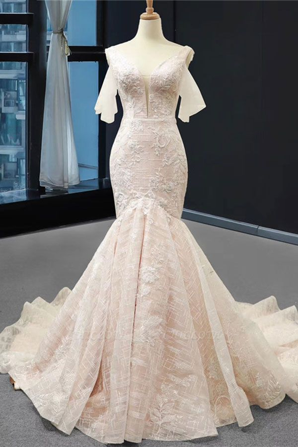 Chicloth V-Neck Short Sleeve Appliques Mermaid Wedding Dress