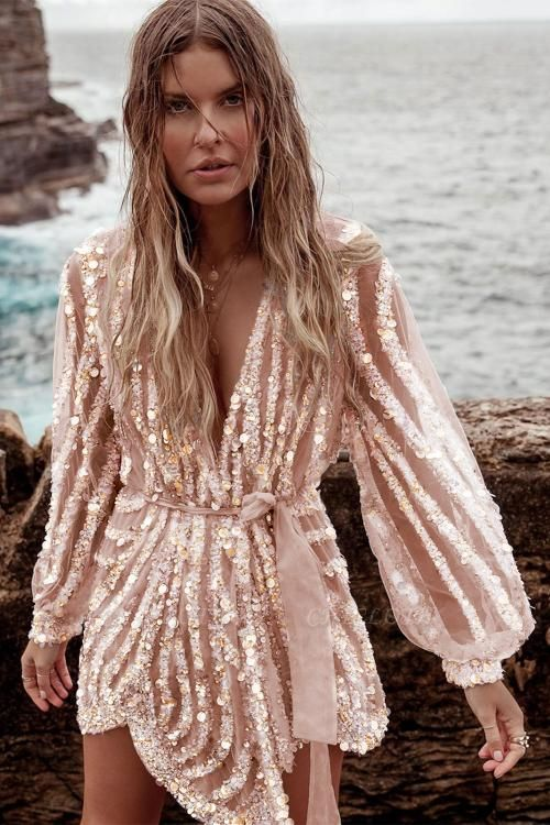 Sequin Surpliced Wrap Deep V Neck Party Mini Dress