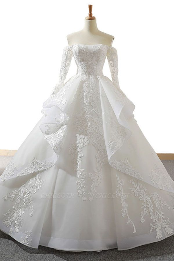 Chicloth Lace-up Off Shoulder Long Sleeve Tulle Wedding Dress