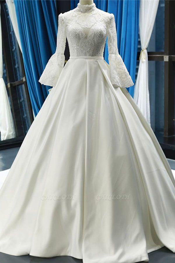 Chicloth Elegant High Neck Long Sleeve Satin Wedding Dresses