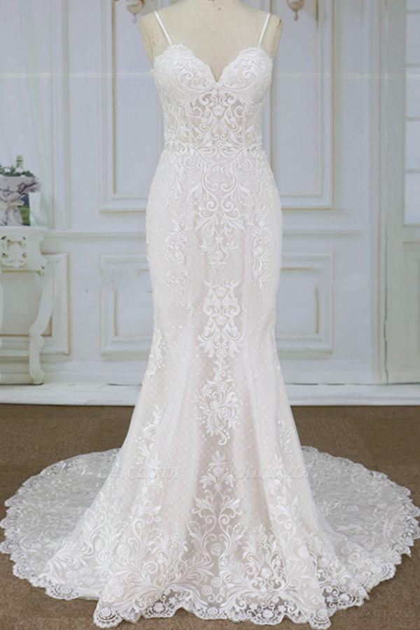 Chicloth Spaghetti Strap Appliques Mermaid Wedding Dress