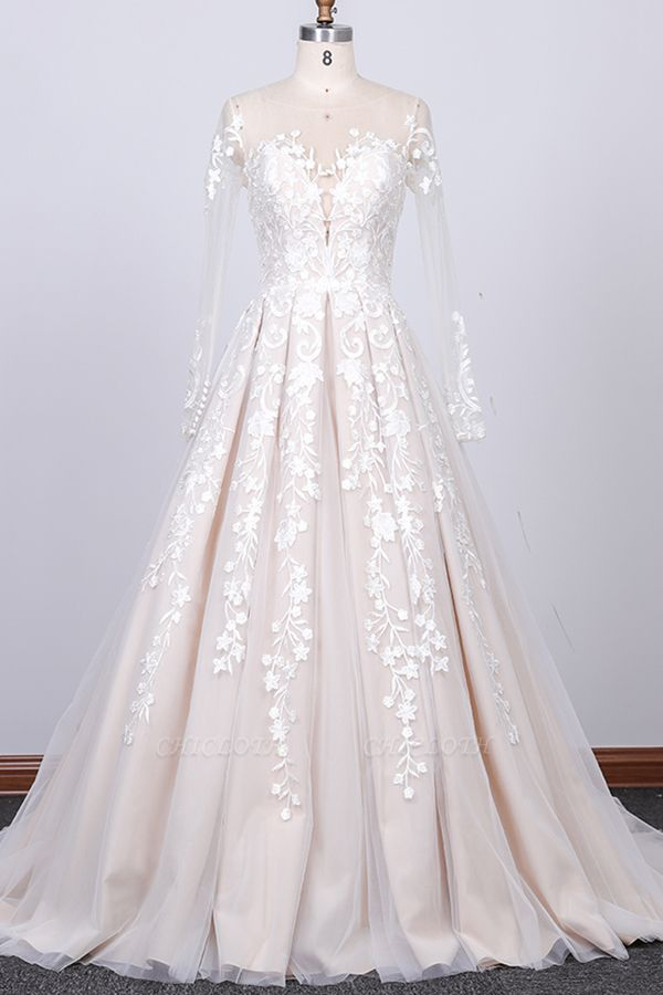 Chicloth Long Sleeve Appliques Tulle A-line Wedding Dress