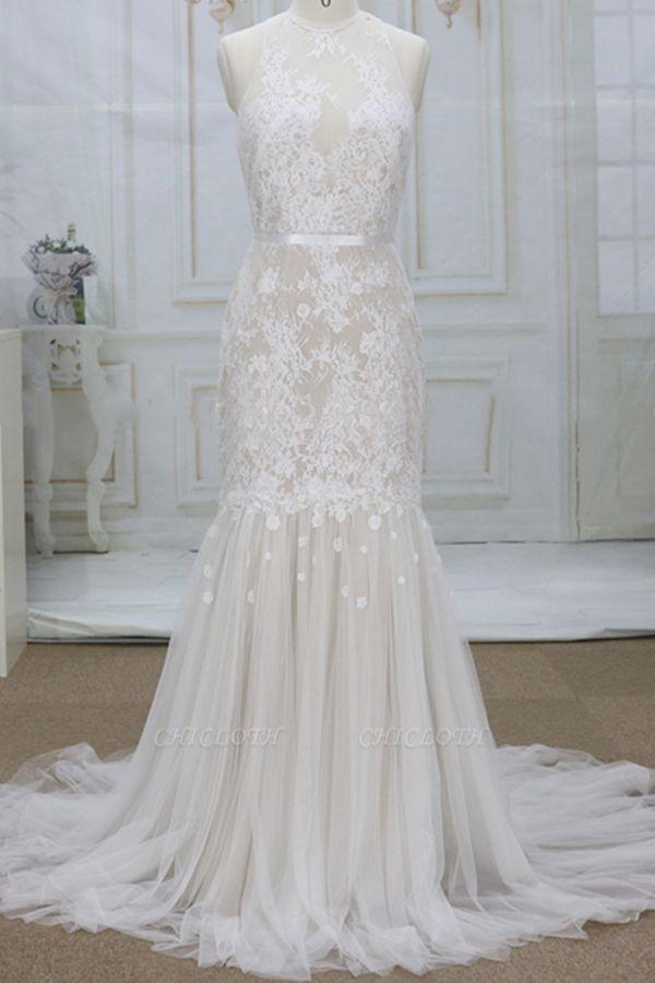 Chicloth Amazing Appliques Tulle Mermaid Wedding Dress