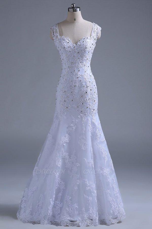 Chicloth Beading Tulle Mermaid Floor Length Wedding Dress