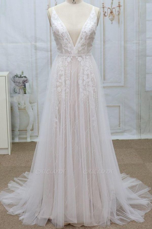 Chicloth Spaghetti Strap V-neck Lace Tulle Wedding Dress