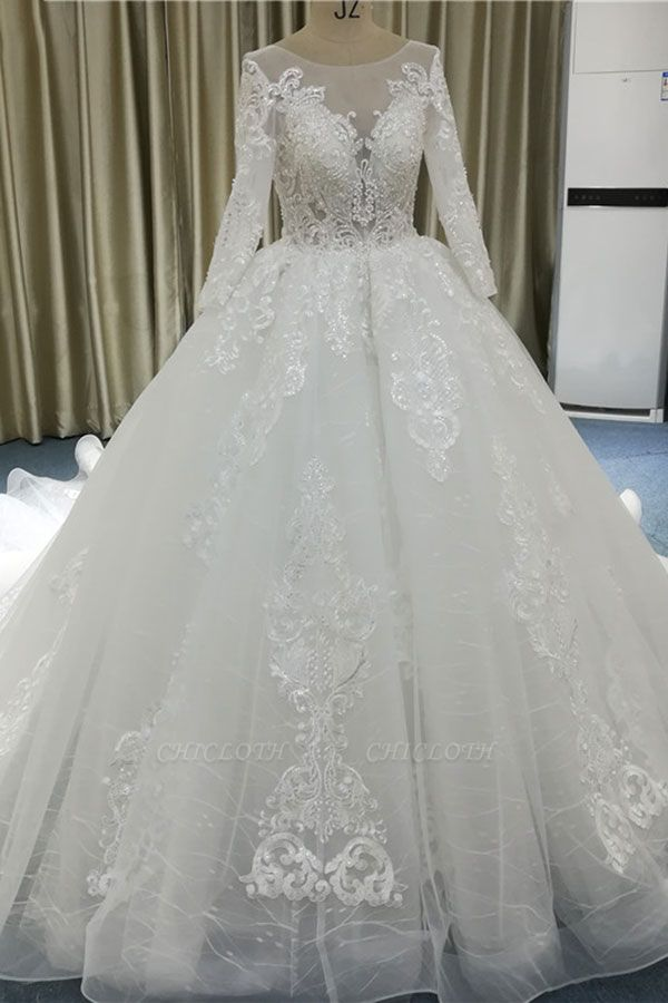 Chicloth Vintage Appliques Long Sleeve Tulle Wedding Dress