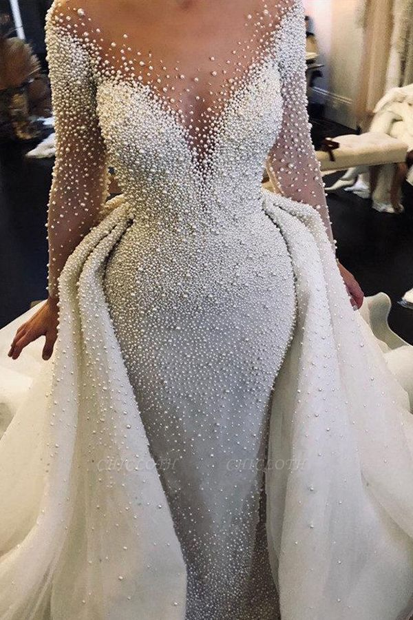 Chicloth Precious Long Sleeve Beading Sheath Wedding Dress