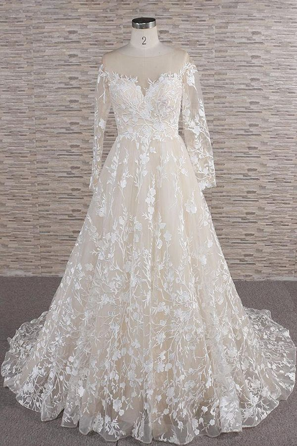 Chicloth Illusion Long Sleeve Applqiues Tulle Wedding Dress