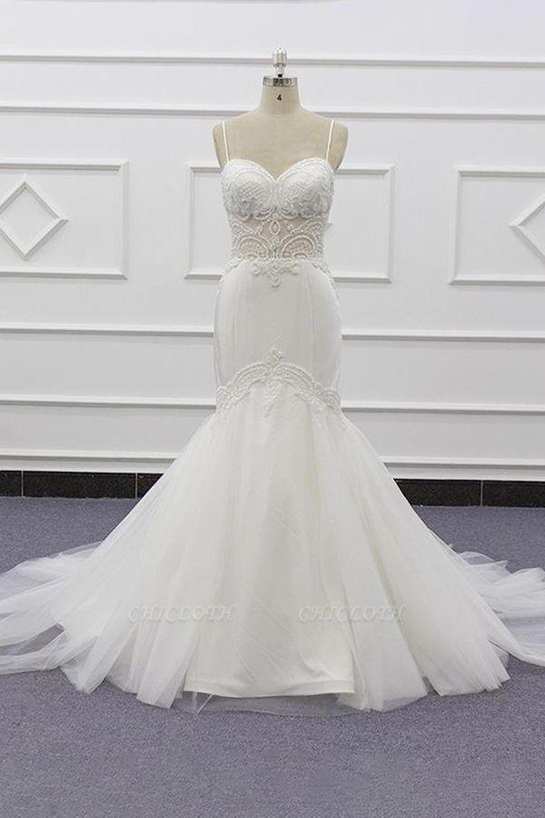 Chicloth Chic Spaghetti Strap Beading Mermaid Wedding Dress