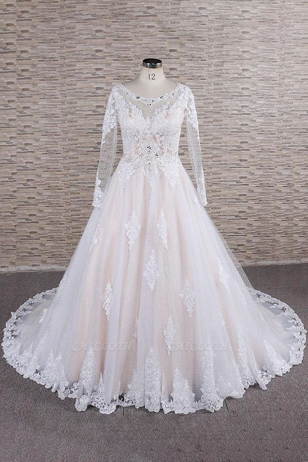 Chicloth Illusion Appliques Long Sleeve Tulle Wedding Dress