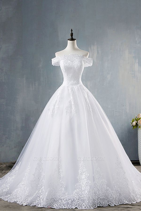 Chicloth Elegant Appliques Lace Tulle A-line Wedding Dress