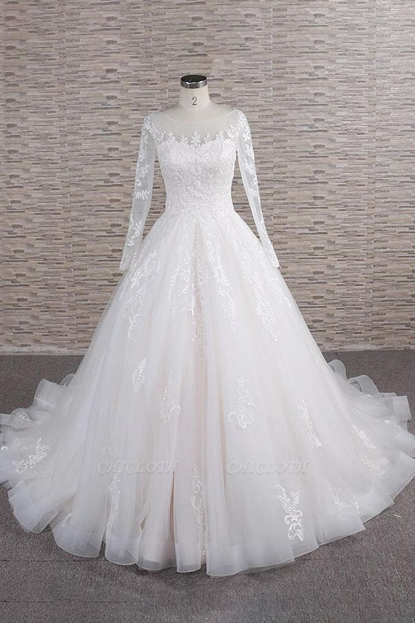Chicloth Graceful Appliques Long Sleeve A-line Wedding Dress