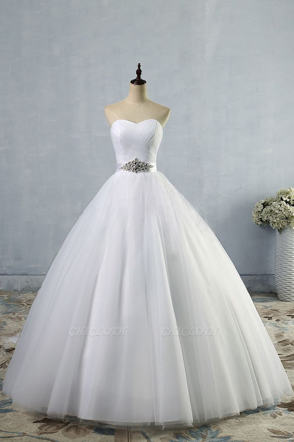 Chicloth Simple Ruffle Strapless Tulle A-line Wedding Dress