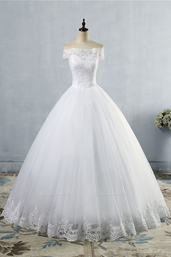 Chicloth Latest Lace-up Tulle Appliques A-line Wedding Dress