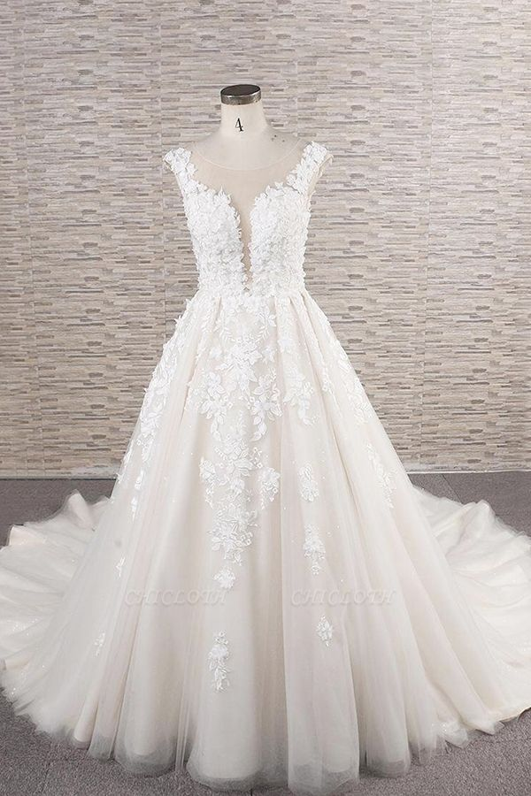 Chicloth Beautiful Lace Appliques Tulle A-line Wedding Dress