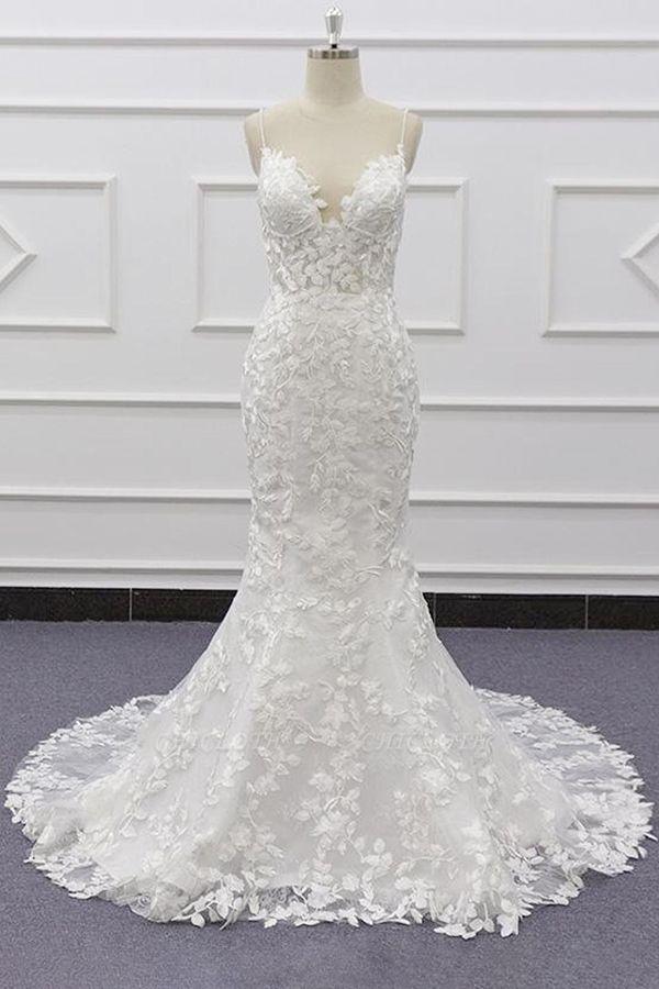 Chicloth Best Spaghetti Strap Appliques Mermaid Wedding Dress