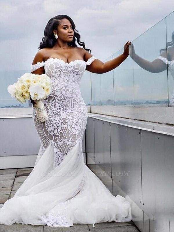 Chicloth Modest Plus Size Off-the-Shoulder Mermaid Wedding Dresses