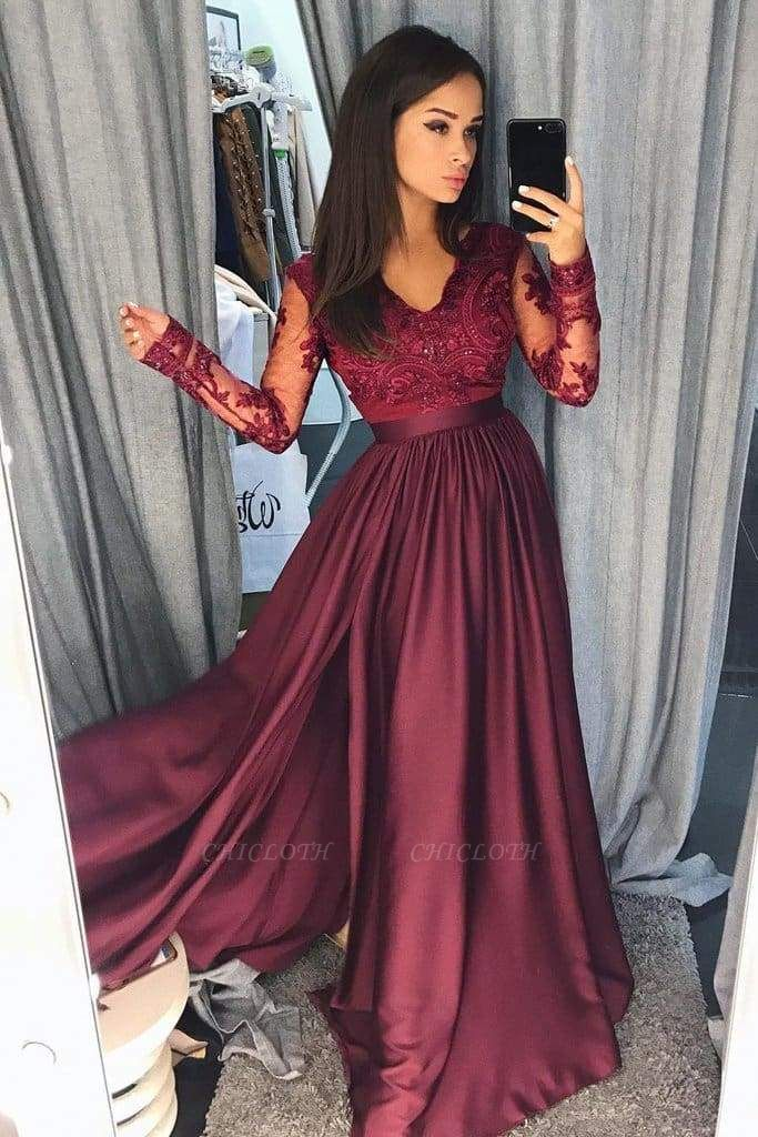 Chicloth Maroon Long Sleeve V-neck Prom Dress Lace Banquet Gown with Slit