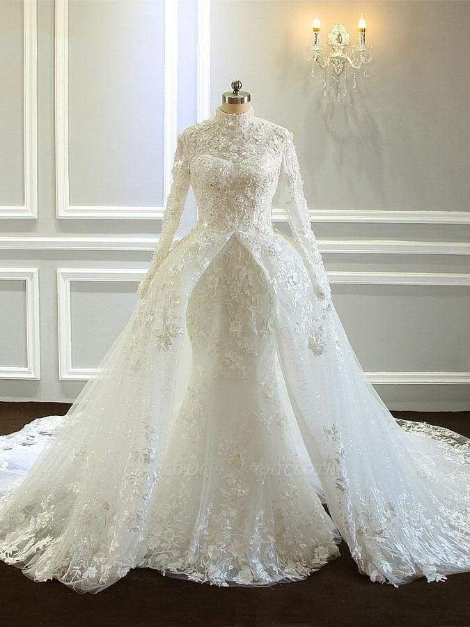 Chicloth Amazing Long Sleeves High Collar Wedding Dresses with Train