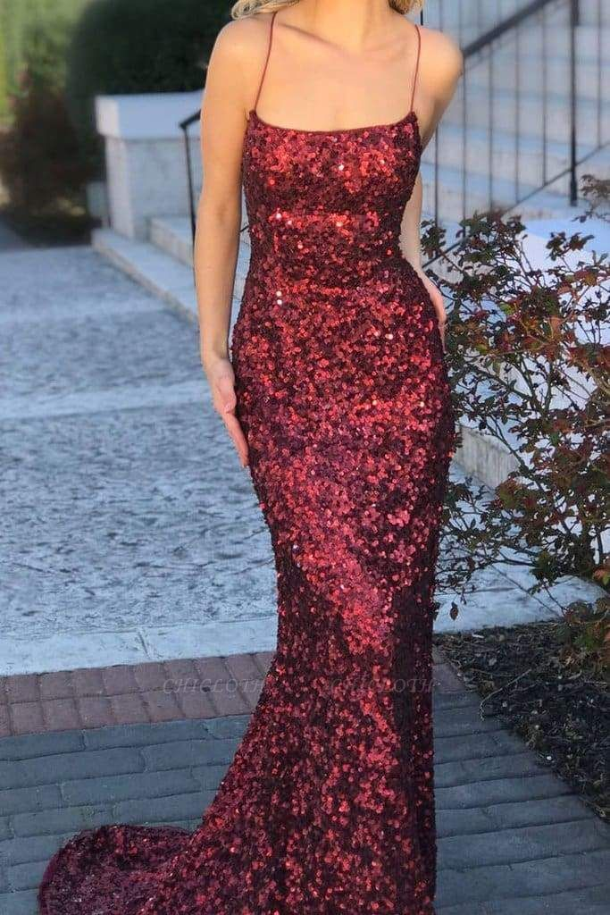 Chicloth Spaghetti Straps Burgundy Mermaid Backless Long Sparkly Sequins Prom Dresses
