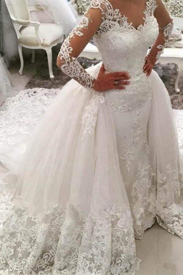 Chicloth Gorgeous Ivory V-Neck Long Sleeves Appliques Watteau Train Wedding Dress