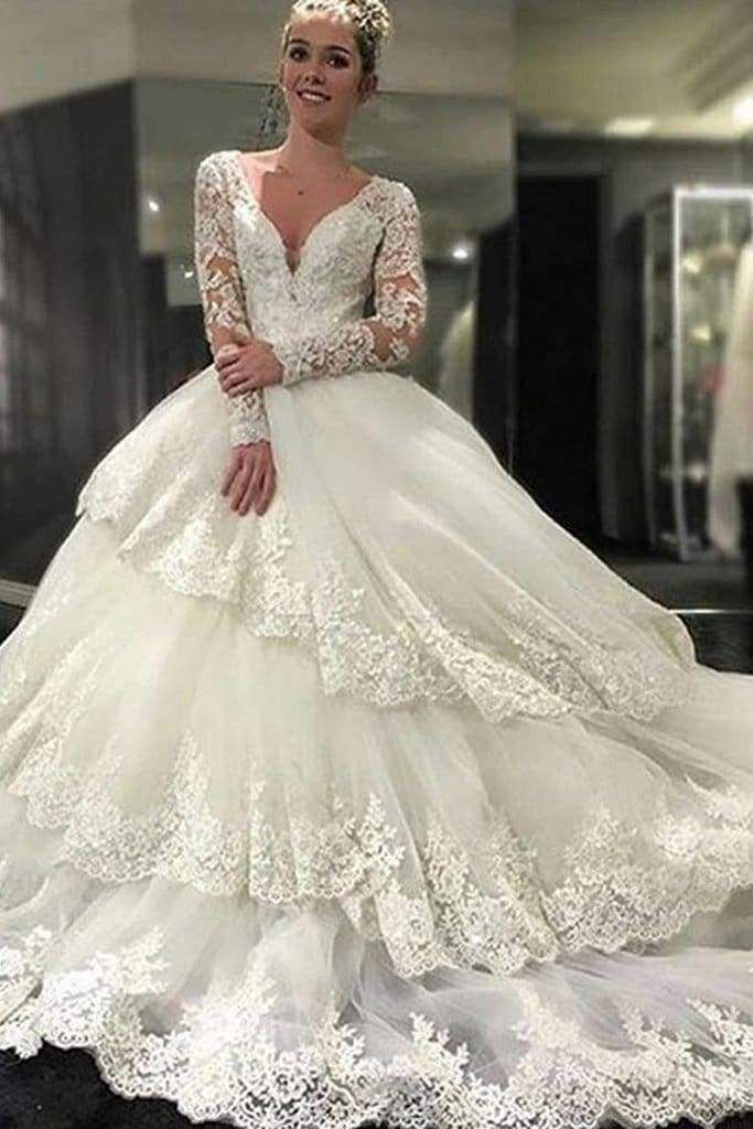 Chicloth Ivory Deep V-Neck Long Sleeves Lace Appliques Chapel Train Tiered Wedding Dress