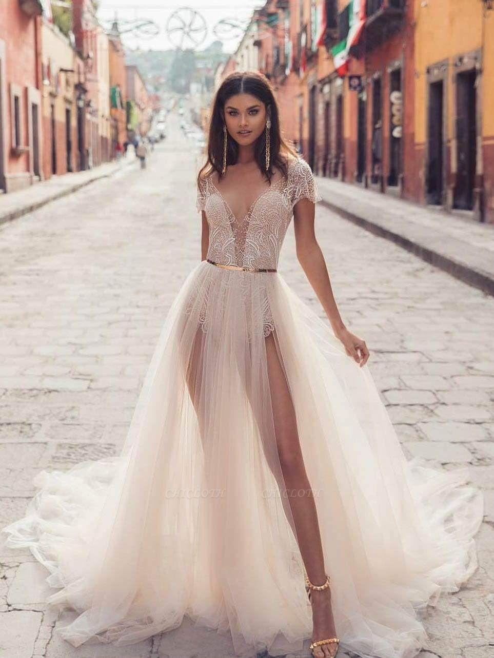 Chicloth V Neck Backless Lace Tull Boho Wedding Dresses